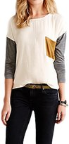 Suvimuga Women's Elegant Long Sleeve Scoop Neck Color Patchwork Pocket Blouse T Shirt XS