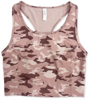 Ideology Camo-Print Long-Line Low-Impact Sports Bra, Created for Macy's