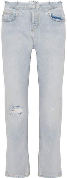 Current/Elliott The Original Straight Distressed High-rise Jeans - Light blue