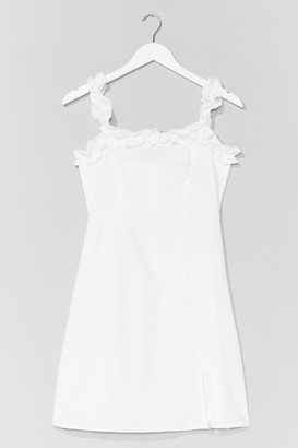 Nasty Gal Womens Hit Ruffle Square Neck A-Line Dress - White