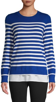 Calvin Klein Striped Twofer Sweater