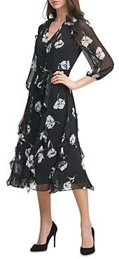 Karl Lagerfeld Paris Floral Print Chiffon Ruffled Dress