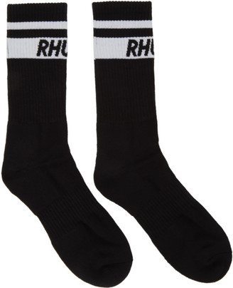 Rhude Black Two-Stripe Logo Socks