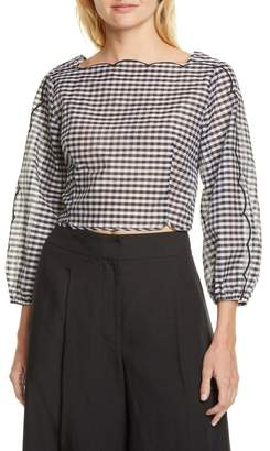 Kate Spade Embroidered Scallop Cotton & Silk Gingham Blouse