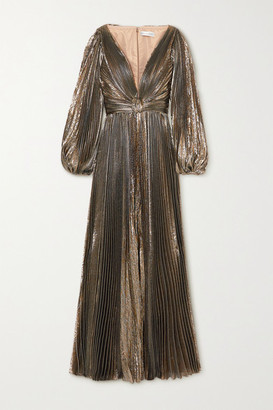 Oscar de la Renta Knotted Pleated Silk-blend Lame Gown - Gold