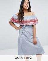 Asos Shirring Detail Off Shoulder Sun Dress in Cotton stripe