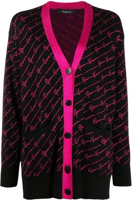 Versace Intarsia-Logo Cardi-Coat