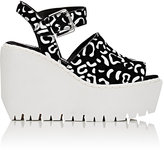Opening Ceremony WOMEN'S LUNA SUEDE PLATFORM WEDGE SANDALS-BLACK, WHITE SIZE 6