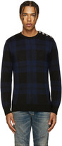Balmain Black & Blue Tartan Sweater