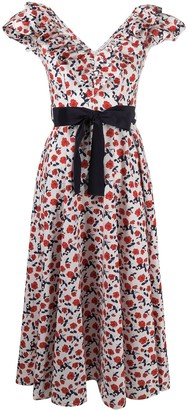 P.A.R.O.S.H. Empire Line Floral-Print Midi Dress