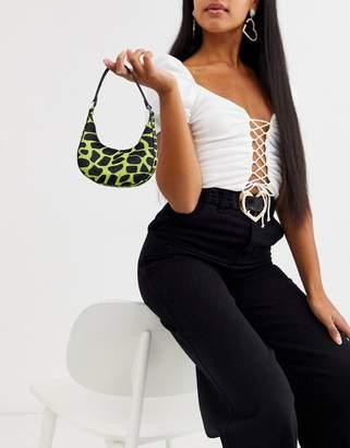 Asos Design DESIGN micro 90s bag in neon animal-Green