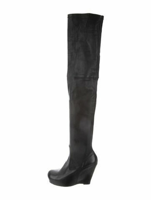 Rick Owens Leather Over-The-Knee Boots Black