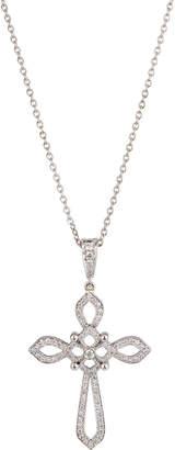 Penny Preville 18k White Gold Diamond Cross Pendant Necklace
