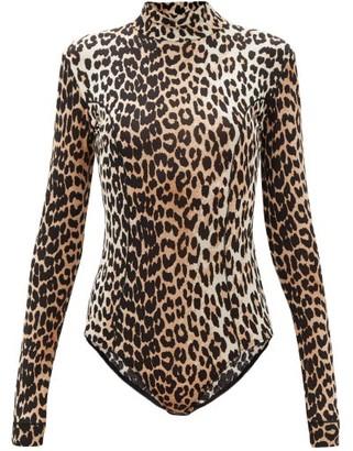 Ganni High-neck Leopard-print Jersey Bodysuit - Leopard