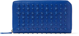 Jimmy Choo CARNABY Pop Blue Satin Leather Travel Wallet with Stars