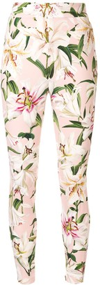 Dolce & Gabbana lily print high-waist trousers