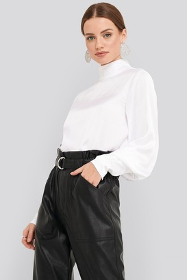 NA-KD High Collar Satin Blouse