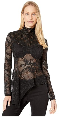 BCBGMAXAZRIA Long Sleeve Lace Turtleneck (Black) Women's Clothing