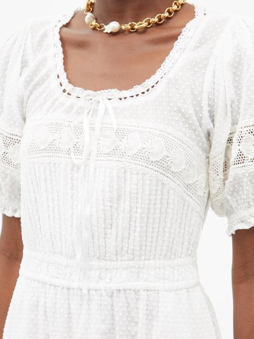 Thumbnail for your product : LoveShackFancy Britta Puff-sleeve Cotton Swiss Dot Mini Dress - White