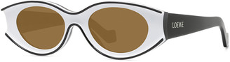Loewe Two-Tone Acetate Inset Oval Sunglasses