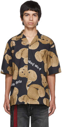 Palm Angels Black and Brown Kill The Bear Bowling Shirt