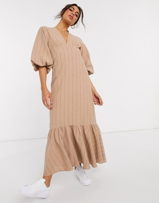 ASOS DESIGN premium casual self stripe plunge midi dress with puff sleeves and pephem