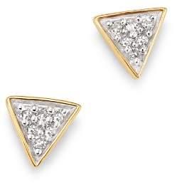 Adina 14K Yellow Gold Pavé Diamond Super Tiny Triangle Stud Earrings