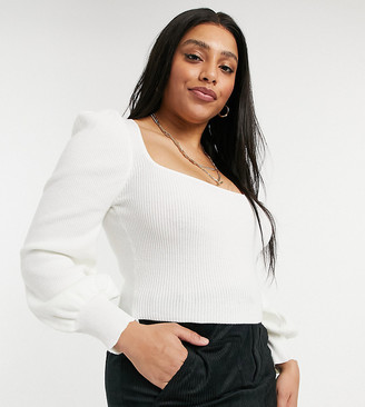 Skylar Rose Plus square neck cropped knit jumper with puff sleeves