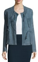 Donna Karan Zip-Front Drawstring Suede Jacket, Faded Indigo
