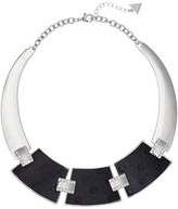 GUESS 3 Plate Hinged Collar with Faux Ostrich Necklace
