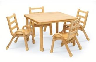 "Kids 5 Piece Square Activity Table & 11"" H Chair Set Angeles"
