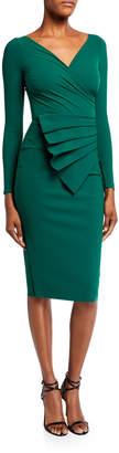 Chiara Boni V-Neck Long-Sleeve Asymmetric Shirred Detail Dress