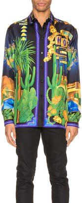 Versace Long Sleeve Shirt in Blue Print | FWRD