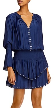 Ramy Brook Embellished Long-Sleeve Mini Dress