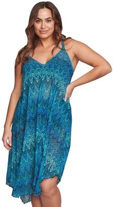 Plus Size Mazu Swim Printed Flowy Mesh Tank Dress Coverup
