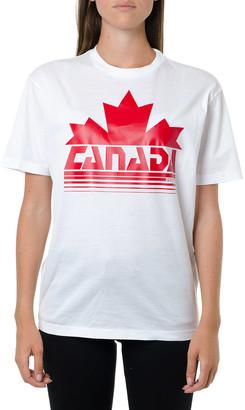 DSQUARED2 Canada Print White Cotton T-shirt