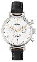 Shinola Runwell Black Essex Glacier Leather Strap Watch