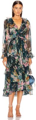 Zimmermann Wavelength Scallop Frill Midi Dress in Teal Daphne | FWRD