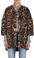 Barneys New York Women's Leopard-Print Rabbit-Fur Coat