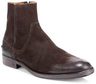 John Varvatos Suede Zip Ankle Boots