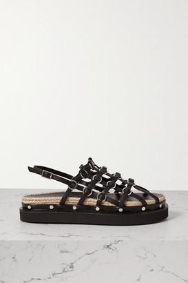 3.1 Phillip Lim Yasmine Embellished Leather Slingback Platform Sandals - Black