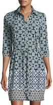 Max Studio Belted Medallion-Print Jersey Shirtdress, Indigo/Green