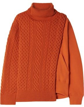 Sacai Layered Wool And French Cotton-terry Turtleneck Sweater