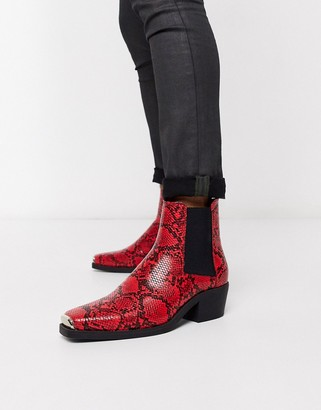 Asos DESIGN cuban heel western chelsea boots in red snake with metal hardware