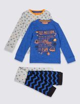 Marks and Spencer 2 Pack Cotton Rich Space Mission Pyjamas (1-8 Years)