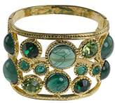 Kenneth Jay Lane Women's Gold Plated Multicolour Green Cabochon Half Circle Open Cuff