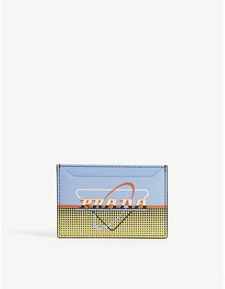 Prada Retro logo leather card holder