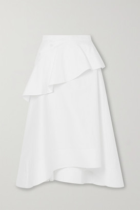 3.1 Phillip Lim Ruffled Cotton-blend Poplin Midi Skirt - White