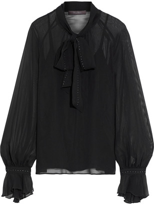 Max Mara Pussy-bow Crystal-trimmed Georgette Blouse
