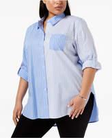 Calvin Klein Plus Size Striped Utility Shirt